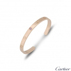 Cartier Rose Gold Pink Sapphire Cuff Love Bracelet Size 16 B6030016